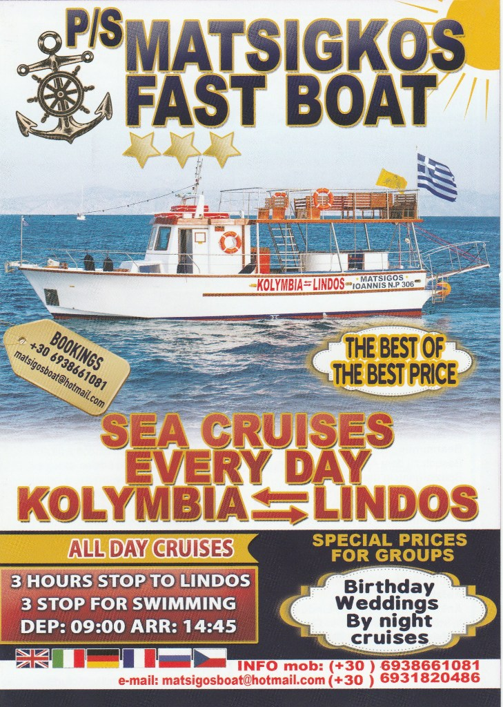 kolymbia boat trips flyer - 1